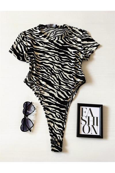 Body dama ieftin bumbac alb decupat lateral cu imprimeu Zebra