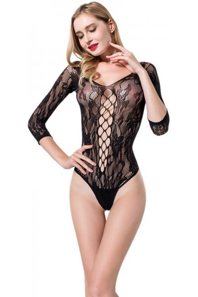Body Floral Long Sleeve Negru OS