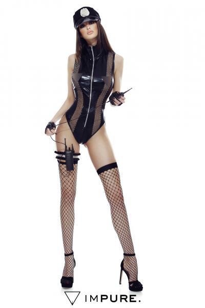Body negru, cu fermoar, din imitatie de latex