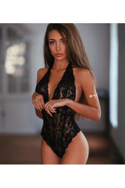 Body Sexy Dantela Negru M