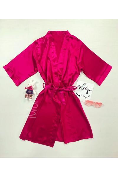 Capot de dama ieftin roz aprins din satin cu maneca lunga