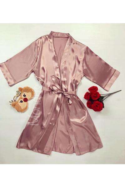 Capot de dama ieftin roz pal din satin cu maneca lunga