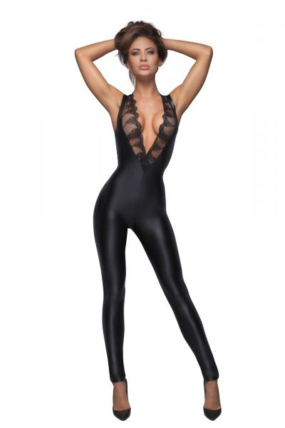 Catsuit Crotchless Sleeveless Material Wetlook si Broderie L