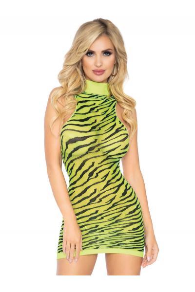 Chemise 86159 High neck zebra mini dress Galben