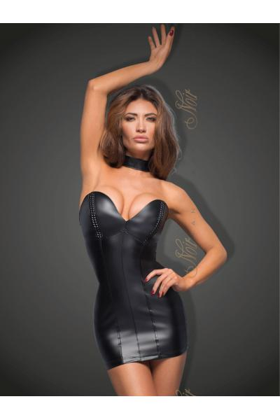 Chemise Minidress with eco-leather cups F172 Negru