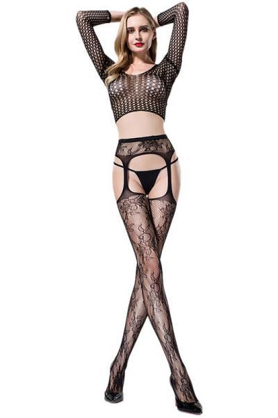 Ciorapi cu Model Floral Negri OS