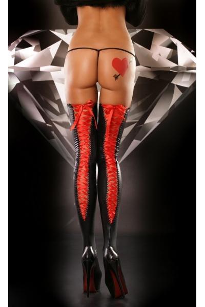 Ciorapi Lolitta Lacing L/XL rosii