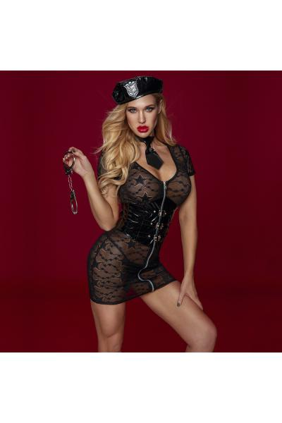 Costum Erotic 5 Piese Politista Sexy Dantela&WetLook 5 Piese Negru S/M