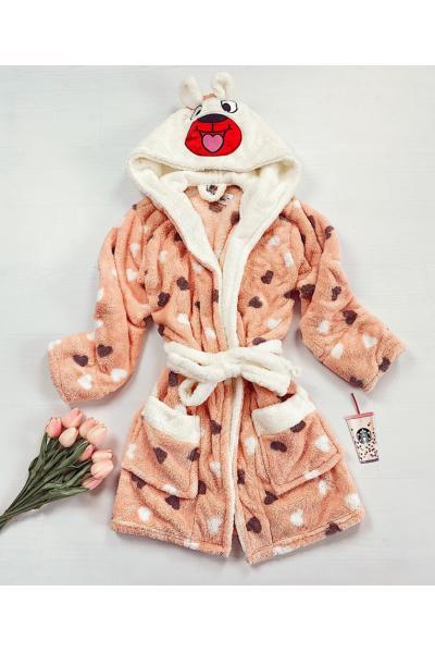 Halat dama ieftin plusat portocaliu cu imprimeu ursulet si inimioare