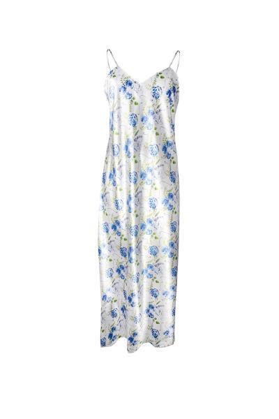 Neglijeu satinat Flowers, albastru