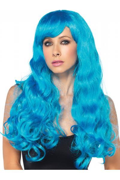 Peruca A1979 Neon Star Long Wavy Wig Albastru