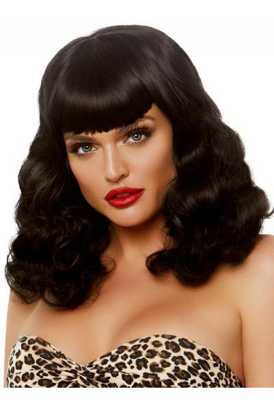 Peruca A2860 Retro bang curly bob wig Negru