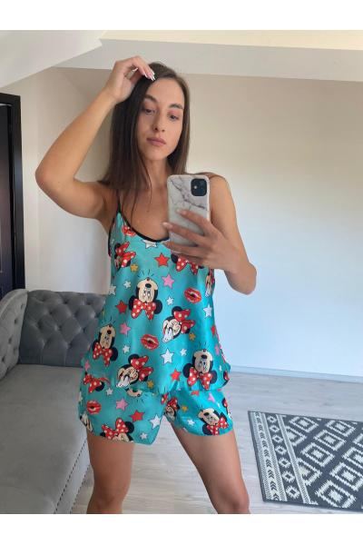Pijama dama din satin Minnie turcoaz