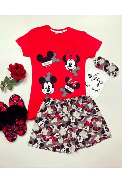 Pijama dama ieftina bumbac cu pantaloni scurti gri si tricou rosu cu imprimeu Mickey and Minnie Mouse Siluete