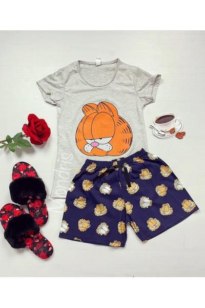 Pijama dama ieftina bumbac cu tricou gri si pantaloni scurti bleumarin cu imprimeu GF Suparat