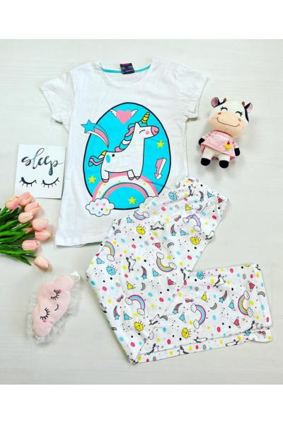 Pijama dama ieftina bumbac lunga cu pantaloni lungi albi si tricou alb cu imprimeu Unicorn