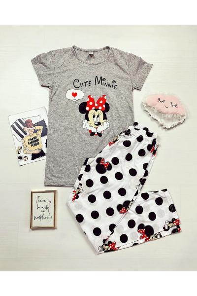 Pijama dama ieftina bumbac lunga cu pantaloni lungi albi si tricou gri cu imprimeu Cute MM