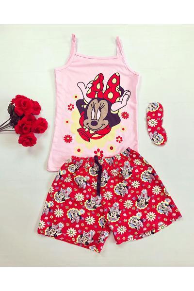 Pijama dama ieftina bumbac primavara vara cu maieu roz si pantaloni scurti rosii cu imprimeu MM & flori