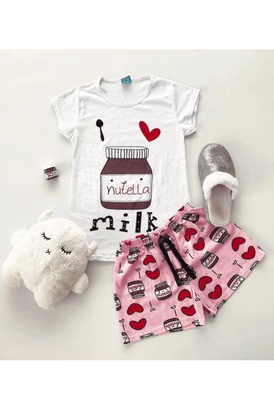 Pijama dama ieftina bumbac primavara-vara cu pantaloni scurti roz si tricou alb cu imprimeu NTL