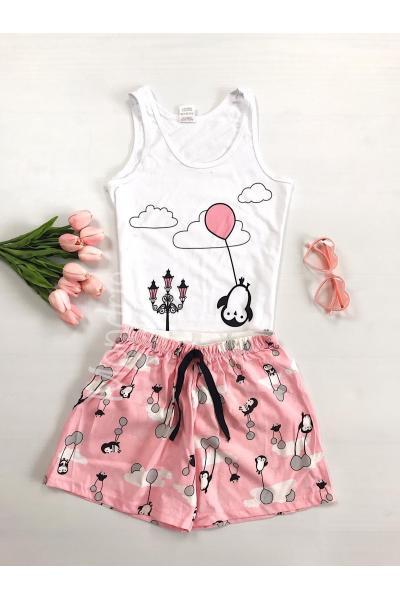 Pijama dama ieftina bumbac scurta cu maieu alb si pantaloni scurti roz cu imprimeu Balon