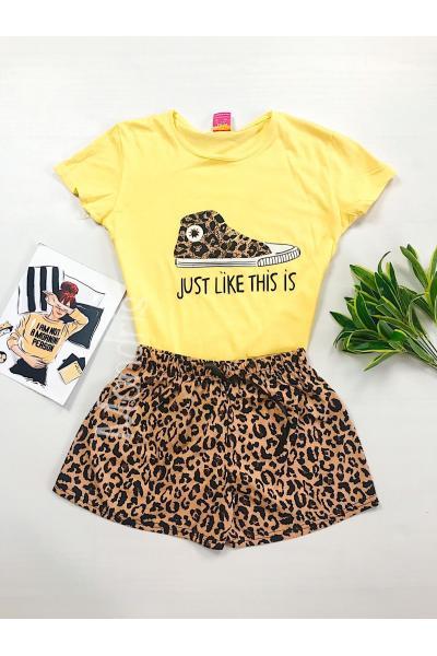 Pijama dama ieftina bumbac scurta cu pantaloni animal print si tricou galben cu imprimeu Tenis Just like this