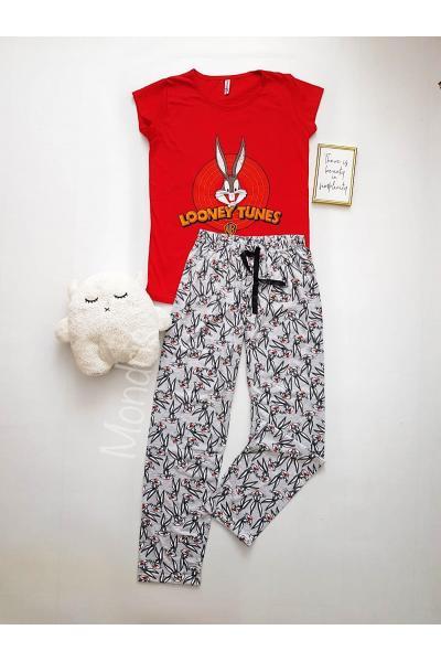 Pijama dama ieftina din bumbac cu pantaloni lungi gri si tricou rosu cu imprimeu BB Looney Tunes