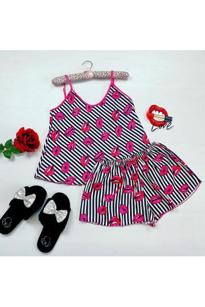 Pijama dama ieftina primavara-vara alb cu negru din satin lucios cu imprimeu buze