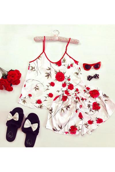 Pijama dama ieftina primavara-vara alba din satin lucios cu imprimeu bujor rosu