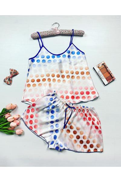 Pijama dama ieftina primavara-vara alba din satin lucios cu imprimeu cercuri colorate