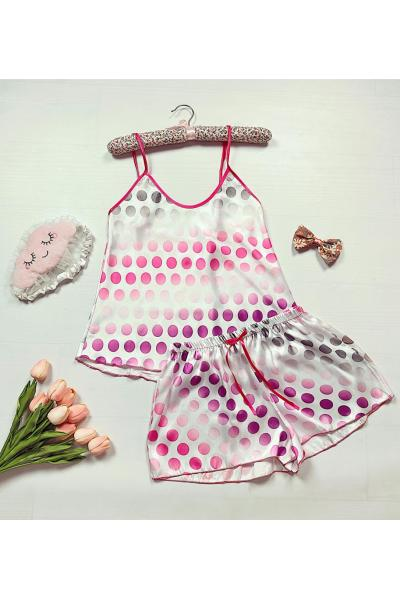 Pijama dama ieftina primavara-vara alba din satin lucios cu imprimeu cercuri roz