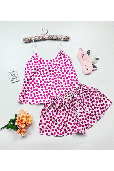 Pijama dama ieftina primavara-vara alba din satin lucios cu imprimeu inimioare