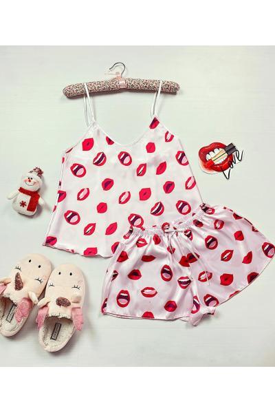 Pijama dama ieftina primavara-vara alba din satin lucios cu imprimeu Ruj
