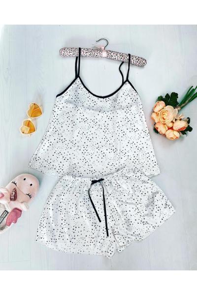 Pijama dama ieftina primavara-vara alba din satin lucios cu imprimeu stelute mici