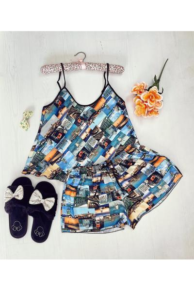 Pijama dama ieftina primavara-vara albastra din satin lucios cu imprimeu Travel