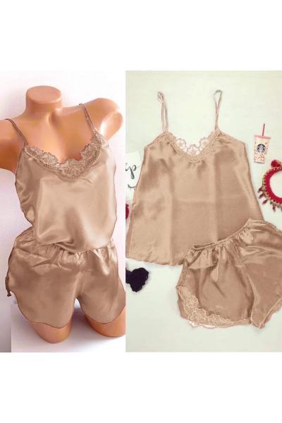 Pijama dama ieftina primavara-vara crem din satin lucios cu model dantelat