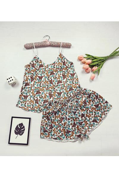Pijama dama ieftina primavara-vara maro din satin lucios cu imprimeu Fluturi