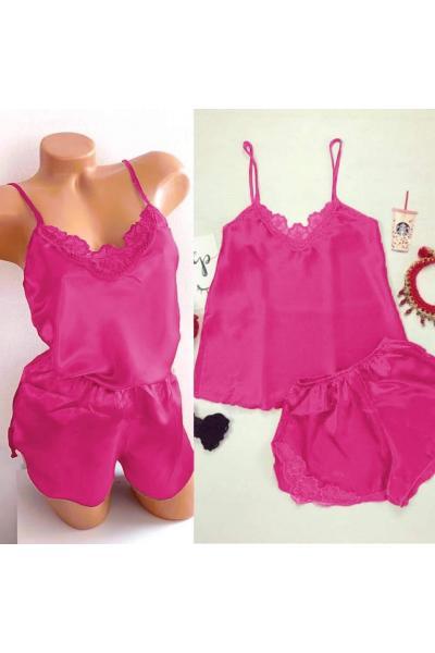 Pijama dama ieftina primavara-vara roz inchis din satin lucios cu model dantelat