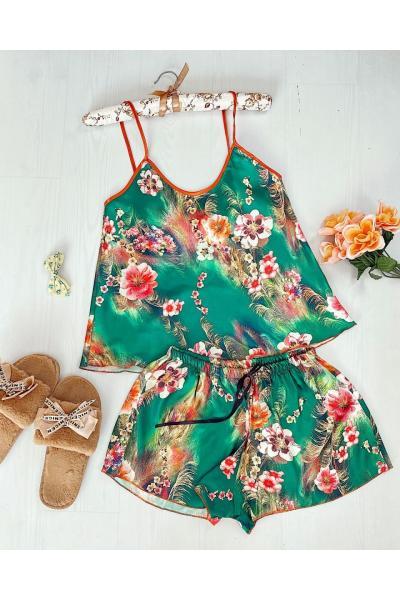 Pijama dama ieftina primavara-vara verde din satin lucios cu imprimeu floral