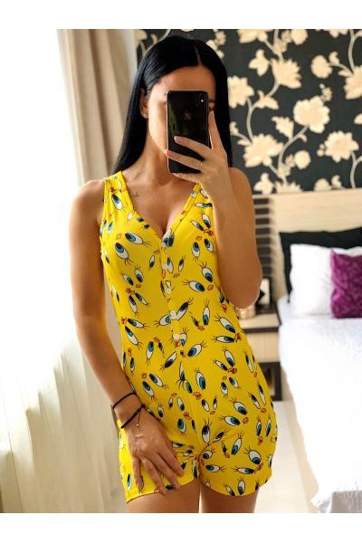 Pijama dama scurta tip salopeta galbena fara maneci cu nasturi si imprimeu Tweety