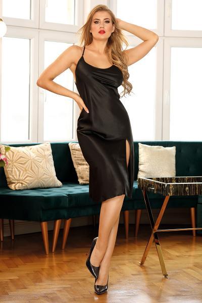 Rochie Sexy Neagra din Satin Lucios M/L