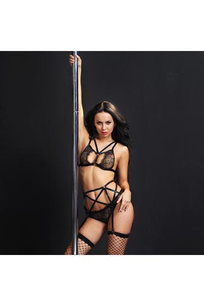 Set 4 Piese Erotic Lingerie Negru Dantela S/M
