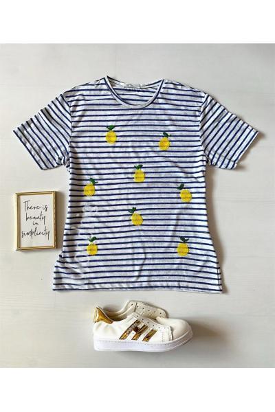 Tricou dama bumbac fin 100% alb cu dungi cu imprimeu Lemon