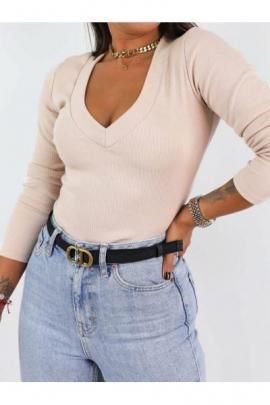 Bluza dama basic bej reiata cu decolteu mare in V