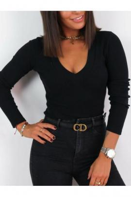 Bluza dama basic negru reiata cu decolteu mare in V