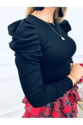 Bluza dama basic negru reiata simpla si cu umeri bufanti