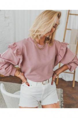 Bluza dama ieftina roz cu maneci lungi cu volanase