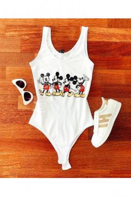 Body dama ieftin bumbac alb cu imprimeu multi Mickey Mouse