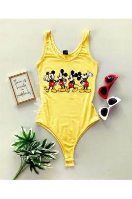 Body dama ieftin bumbac galben cu imprimeu multi Mickey Mouse