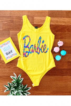 Body dama ieftin galben tip maieu cu imprimeu Barbie