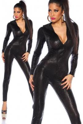 Catsuit Black Crocodile OS